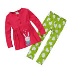 NEW GIRLS Baby Toddler Kid's Clothes Long sleeve RED T-shirt+Pants Set