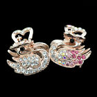 2X new jewelry women hair barrette clip crystal comb swan rhinestone hairpin