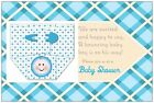 Personalized BABY BOY BLUE DIAPER Footprints Shower INVITATIONS  Postcards