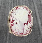 LARGE RED CAMEO RING IN SOLID .925  STERLING SILVER SIZE 5 TO 15 WIRE WRAPPED