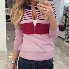 Women Fashion Sweater Long Sleeve Zipper Pullpver Blouse Casual Top Outwear