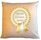 """Personalised Cushions 14"""" or 18"""" - World's Greatest Auntie - Gold"""