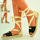 New Womens Lace Up Flat Espadrilles Sandals Ladies Ankle Strap Shoes Size Uk 3-8