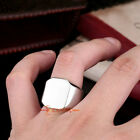 316L Stainless Steel Men's Women's Polished Square Signet Engagement Ring Silver