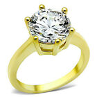 Stainless Steel 3.5 Ct Round Cut CZ 14k GOLD Ion Plated Engagement Ring (723)