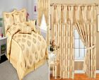 Ready Made Curtains Pair Fully Lined Pelmet & 7Pcs Bedspread Coffee/Gold