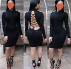 Womens Dress Solid Long Sleeve Casual Party Bandage Bodycon Cocktail Club Dress