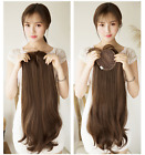 Long Wavy Synthetic  Clip in Hair Topper Mono Top Hairpiece Air BANG