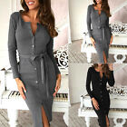 Fashion Womens Ladies Bandage Bodycon Dress Plain Stretch Pencil Midi Dresses