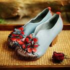 Chic Womens Retro Brogues Mary Jane Gilrs Flower Block Heels Shoes Slip On Pumps