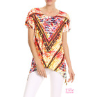 Women Floral Tribal Dipped Hem Short sleeve T-shirt Top (S/M/L/XL)
