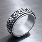 Tibetan Buddhism OM MANI PADME HUM Solid Stainless Steel 8MM Band Ring