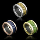 14K Rose Gold Stainless Steel Blue Coffee Green Faux Marble Screw Thread Ring