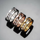 14K Rose Gold Stainless Steel Three Sliding Crystals Fashion Jewelry Lovers Ring