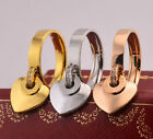 14K Rose Gold Stainless Steel Love Heart Crystals Fashion Jewelry Lovers Ring