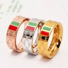 New 14K Rose Gold Stainless Steel Letter Womens Lovers Ring Fashion Jewelry Gift