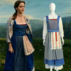 NEW Beauty and Beast Princess Belle Cosplay Dress Maid Costume Custom Made F.02