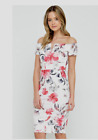 Bardot Off Shoulder Style Bodycon Dress in Cream Floral