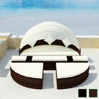 Patio Outdoor Rattan & Wicker Lounger Sectional Sunbed Round Daybed Black/Brown