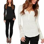 Fashion Women Loose Lace Tops Lady Long Sleeve Blouse T Shirt Dovetail Pullover