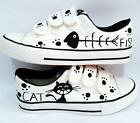 Women Fashion Hand-painted Canvas Shoes for Boys Girls - Cat & Fish Cute Kittens