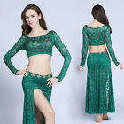 New 2017 Sexy Women Belly Dance Costumes 2Pics Long Sleeve Top&Slit Long Skirt