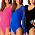 Womens Chiffon Full Sleeve Plain BodySuit Ladies Leotard Body Top Fancy Dress