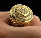 NEW $149 14k Gold gp Simulate Diamond Iced Out Hiphop Mens Pave Pinky Ring Bling