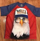 Mens Faded Glory Merica tshirt Bald Eagle Patriotic Tee Shirt S M L XL 2XL 3XL