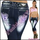Women's Capri Jeans Summer Tattoo Ladies Shorts Cropped Jeans Size 6,8,10,12,14