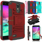 For LG Stylo 3 Plus / Stylo 3 Hybrid Shockproof Kickstand Case + Tempered Glass