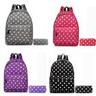 Girls Canvas Polka Dot Backpack School Bag Match Pencil Case Laides