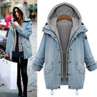 NEW FASHION WINTER WARM WOMENS LADIES HOODED DEMIN TRENCH JACKET COAT OVERCOAT