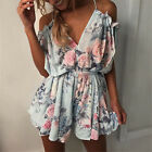 UK Boho Womens Strappy V Neck Holiday Mini Playsuit Dress Summer Beach Jumpsuit