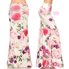 Rose Floral off-white Sublimation high waist maxi long skirt S/M/L/XL/1XL/2XL/3X