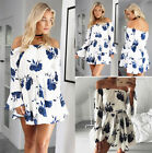 UK Boho Womens Skater Print Swing Off Shoulder Holiday Beach Ladies Casual Dress