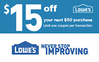 TWO 2x Lowes $15 OFF $50 Printable-Coupons -EXP 05 13 Instant FAST Delivery