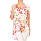 Women Rose Floral Pink Red Dipped Hem Short sleeve T-shirt Top (S/M/L/XL)
