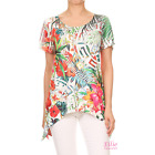 Women Tropical Floral Dipped Hem Short sleeve T-shirt Top (S/M/L/XL)