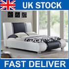 Hot Sale! Luxury Black/White Faux Leather Italian Designer Bed with Chrome Trim