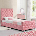 Hot Sale!! Girls Pink Crushed Velvet Fabric Princess Single Size Bed Frame
