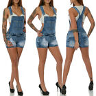 Damen Jeans Shorts Hot Pants Panty Kurze Hose Latzhose Overall Stretch No 15565