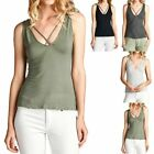 Sleeveless Crossed Front Solid V Neck Tank Top Casual Rayon Span Cute S M L