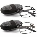 2 Pairs Foldable Readers in Portable Nylon Zip Cases Folding Reading Glasses