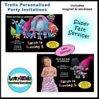 TROLLS PERSONALISED BIRTHDAY PARTY INVITATION - 1 ONLY (MINIMUM ORDER 8)
