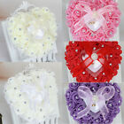 Внешний вид - Rose Wedding Favor Heart Shape Jewelry Ring Box Rhinestone Pillow Cushion Decor