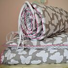 100%COTTON Cot Bed Duvet Cover Set Baby Girl Butterfly Dots Grey Pink BUMPER