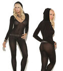 Sexy Lingerie Teddy Sleeve Bodysuit Opaque Bodystockings with Hood *Open Crotch*