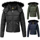 Kids Puffer Faux Fur Girls Padded Warm Thick bubble Hooded Childrens Jacket