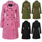 New Womens Long Trench Button Ladies MAC Double Breasted Belted Coat Jacket Top